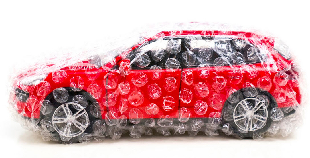 Bubble wrapped car coverage